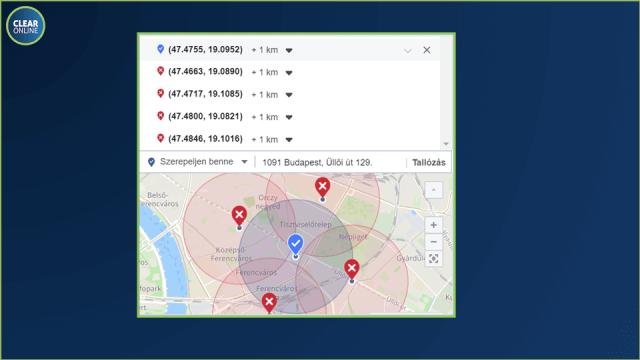 facebook hirdetés helyszín mikro targeting kizárt területek