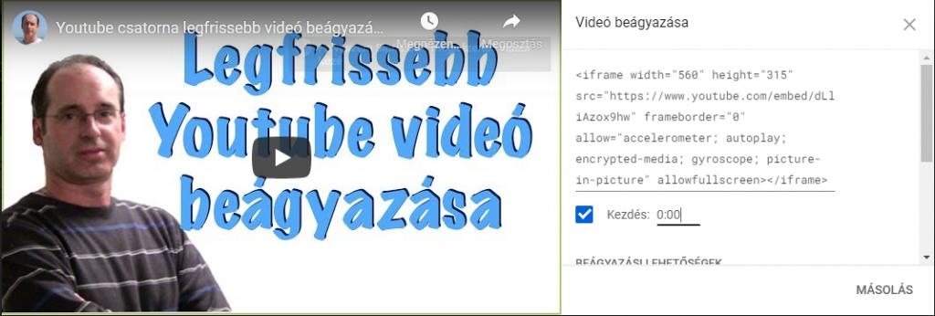 youtube videó beágyazásához a HTML kód lekérése