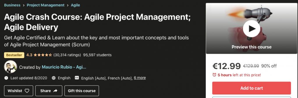 agilis projektmenedzsment témájú képzés a udemy-n