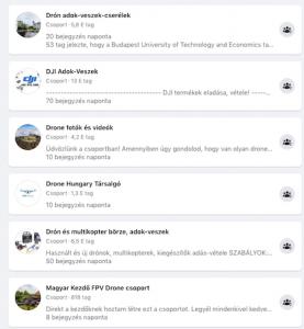 drón Facebook csoport a Facebook keresőben